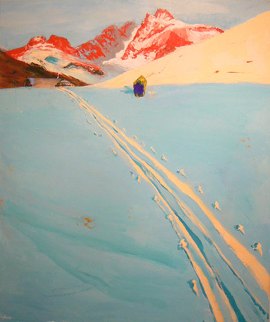 Judith Simonian, Icy Blue Trail, 2009, acrylic on canvas, 62h x 54w in.