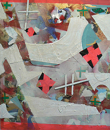 Patrick Brennan,  Montauk Discussion,  2011, mixed media on canvas, 24h x 18w in.