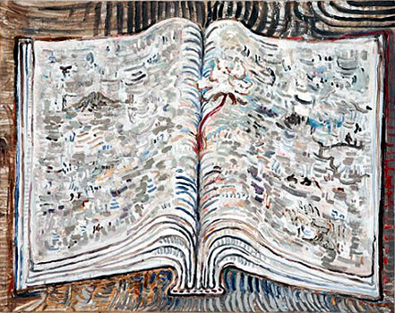 David Scher,  Unititled (Book Painting),  2010, acrylic on canvas, 26h x 32w in.