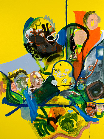 Drew Beattie,  Fruit in the Morning,  2010, acrylic & collage on canvas, 120h x 90w in.
