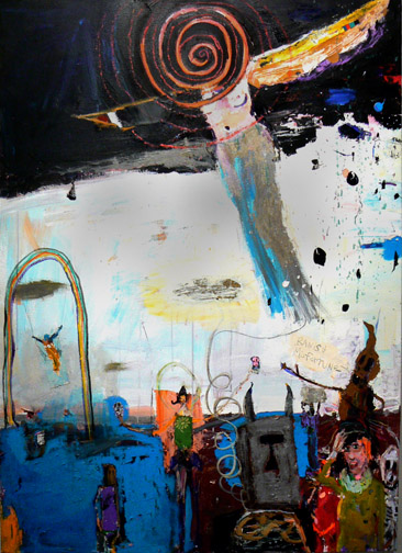 Matthew Blackwell,  Banish Misfortune,  2011, acrylic, oil, and collage on canvas, 56h x 40w in.