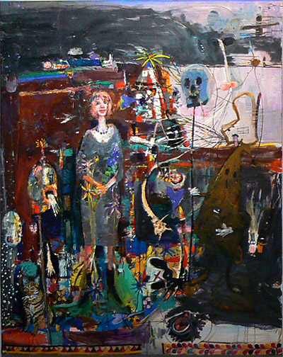 Matthew Blackwell,  Flora and the Infidels,  2005-11, oil and collage on canvas, 66h x 54.25w in.