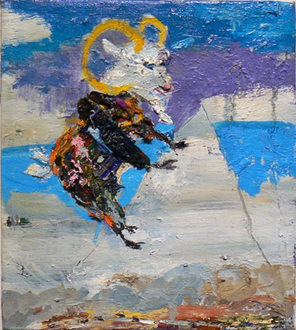 Matthew Blackwell,  The Goats Coat,  2009-11, oil and collage on canvas, 16h x 18w in.