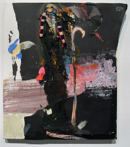 Matthew Blackwell,  Moses and his Stones,  2010-11, acrylic, oil, and collage on canvas, 12h x 11w in.