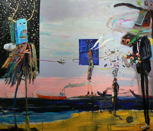 Matthew Blackwell,  Stranger in the Lo Country,  2009-11, acrylic, oil, and collage on canvas, 66h x 78w in.