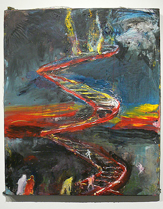 June Leaf,  Figures on a Spiral Staircase,  2010-11, acrylic on canvas mounted on tin, 36h x 30w in.