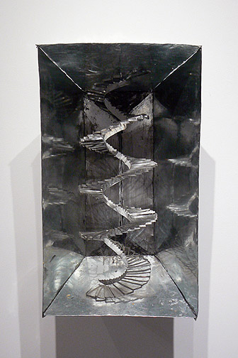 June Leaf,  Spiral Staircase,  2011, tin, acrylic, and wire, 30.5h x 17.75w x 13d in.