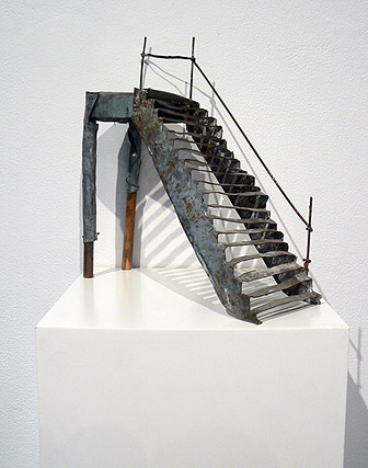 June Leaf,  Staircase,  2011, tin, copper, and wood, 8.75h x 7.25w x 3d in.