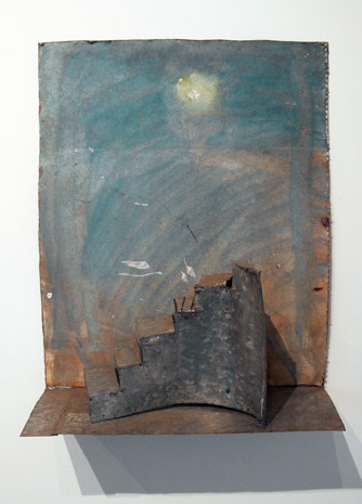 June Leaf,  Staircase in Landscape,  2011, acrylic on paper, tin, 17.5h x 14.25w x 5d in.