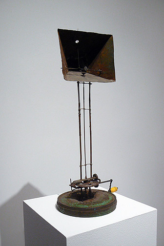 June Leaf,  Theater for a Crank Shaft,  2007, steel, tin, wire, and enamel, 22.75h x 9.75w x 10d in.