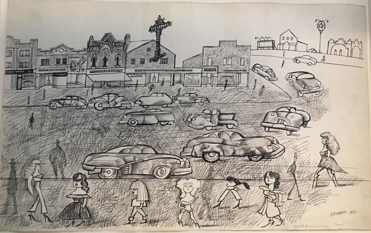 Saul Steinberg,  Small Town , 1953, Ink with Scraping on Paper, 14 1/2h x 23w in.