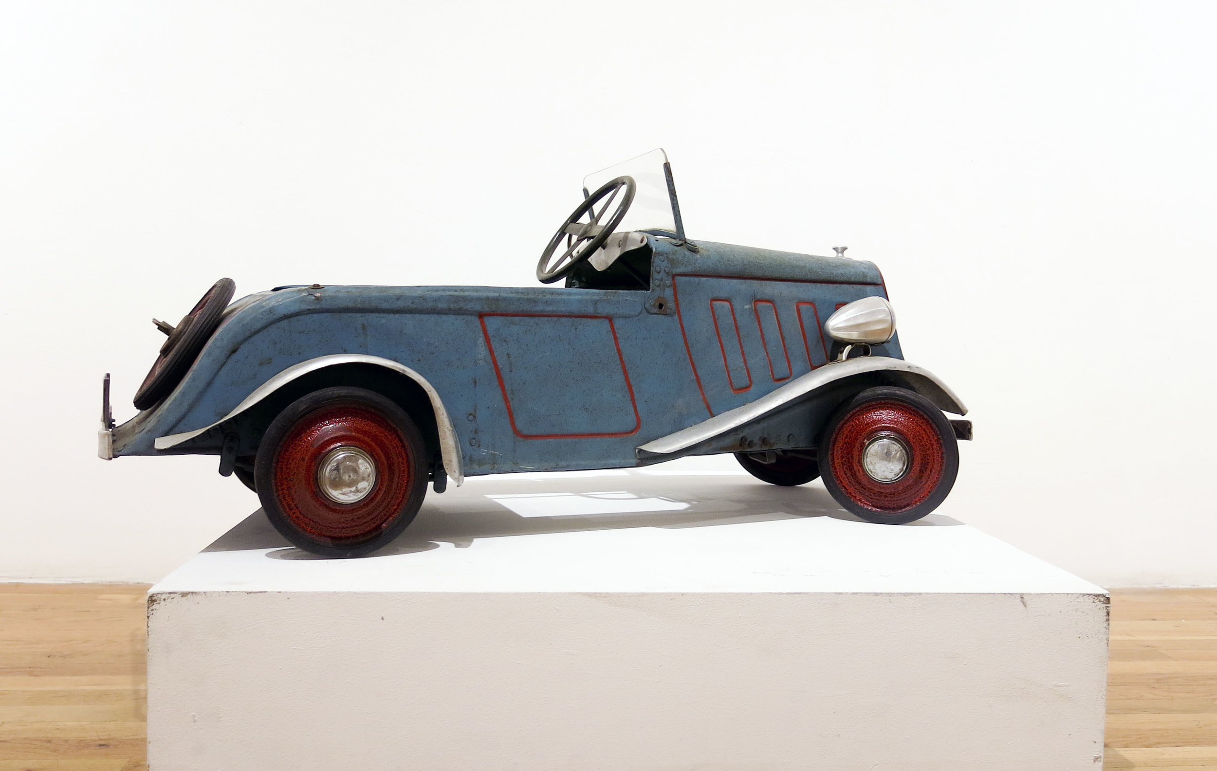 Anonymous,  Vintage Child's Peddle Car , c. 1930's France, Painted Metal, 18h x 42w x 17d in.