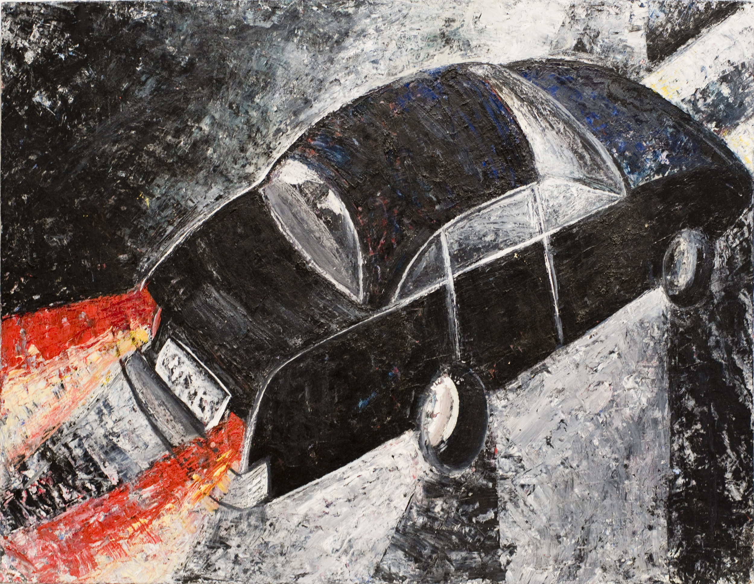 Jenny Snider,  Noir,  1995, oil on canvas board, 20h x 24w in.