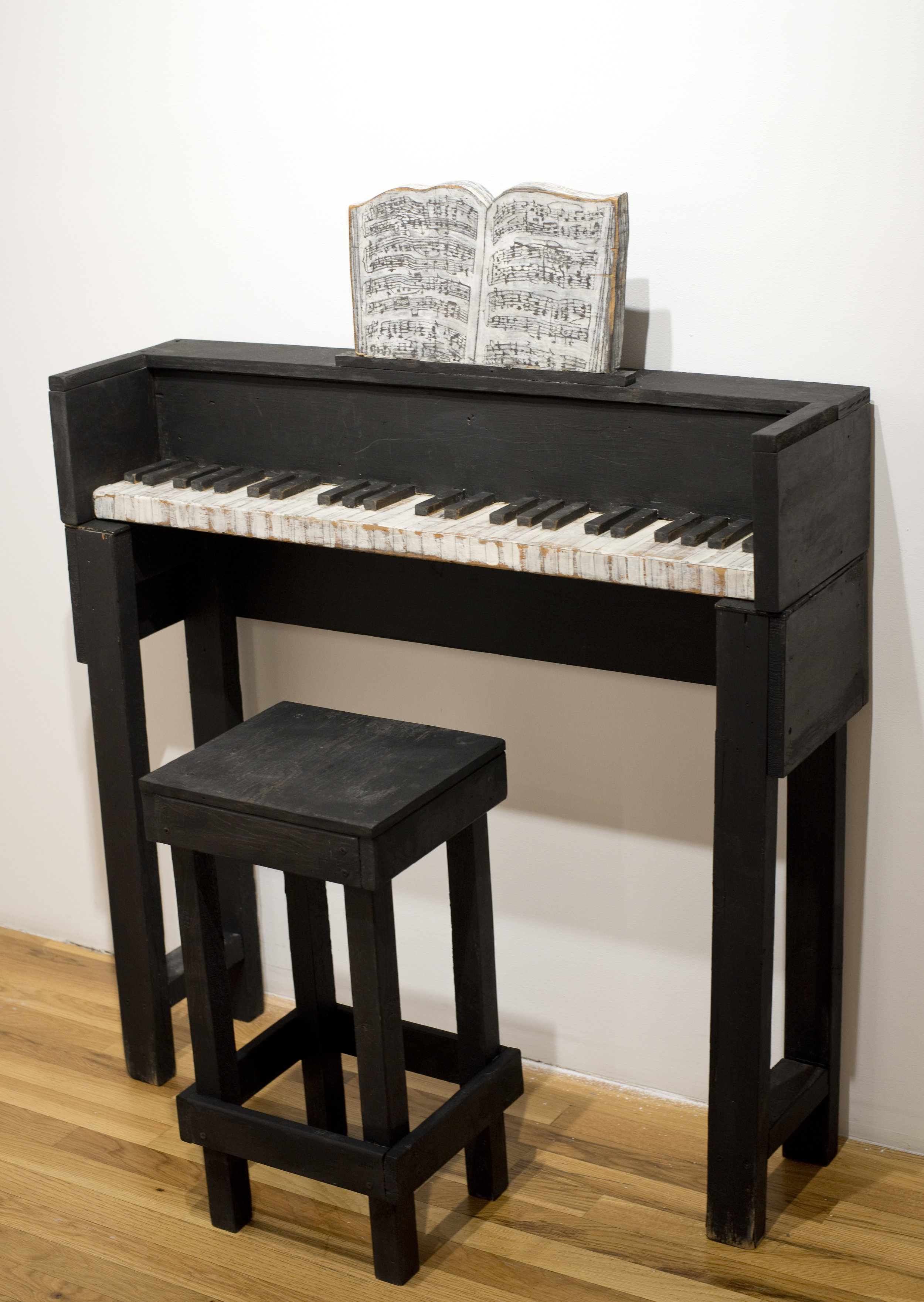 Jenny Snider,  SOLO:Ev'ry Time We Say Goodbye,  1999, acrylic and pencil on wood, Piano: 48h x 39w x 10.5d in. Stool: 24h x 12.5w x 11d in.