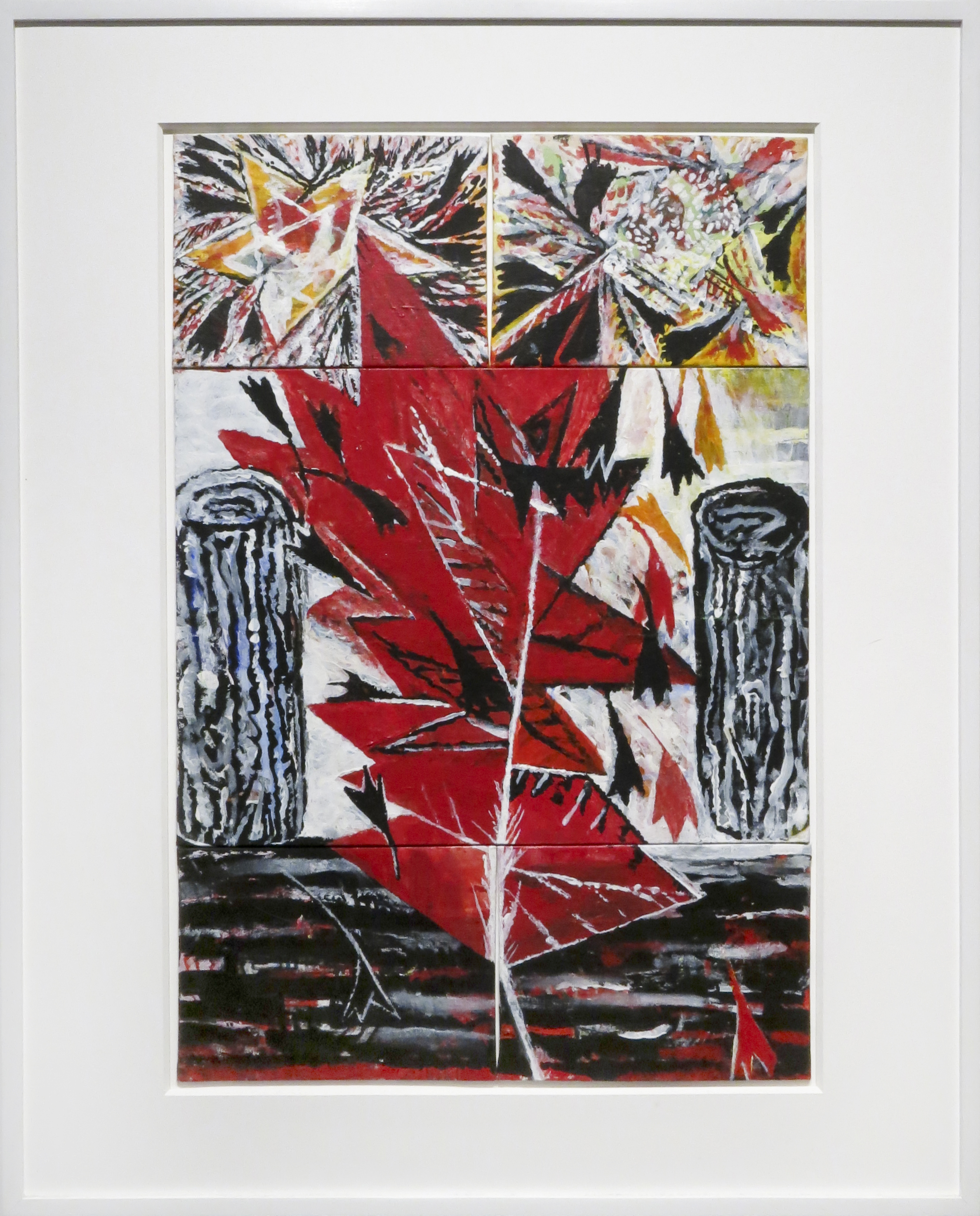 Jenny Snider,  Upright Leaf,  2013, acrylic on canvas board, 24h x 162 in. framed.