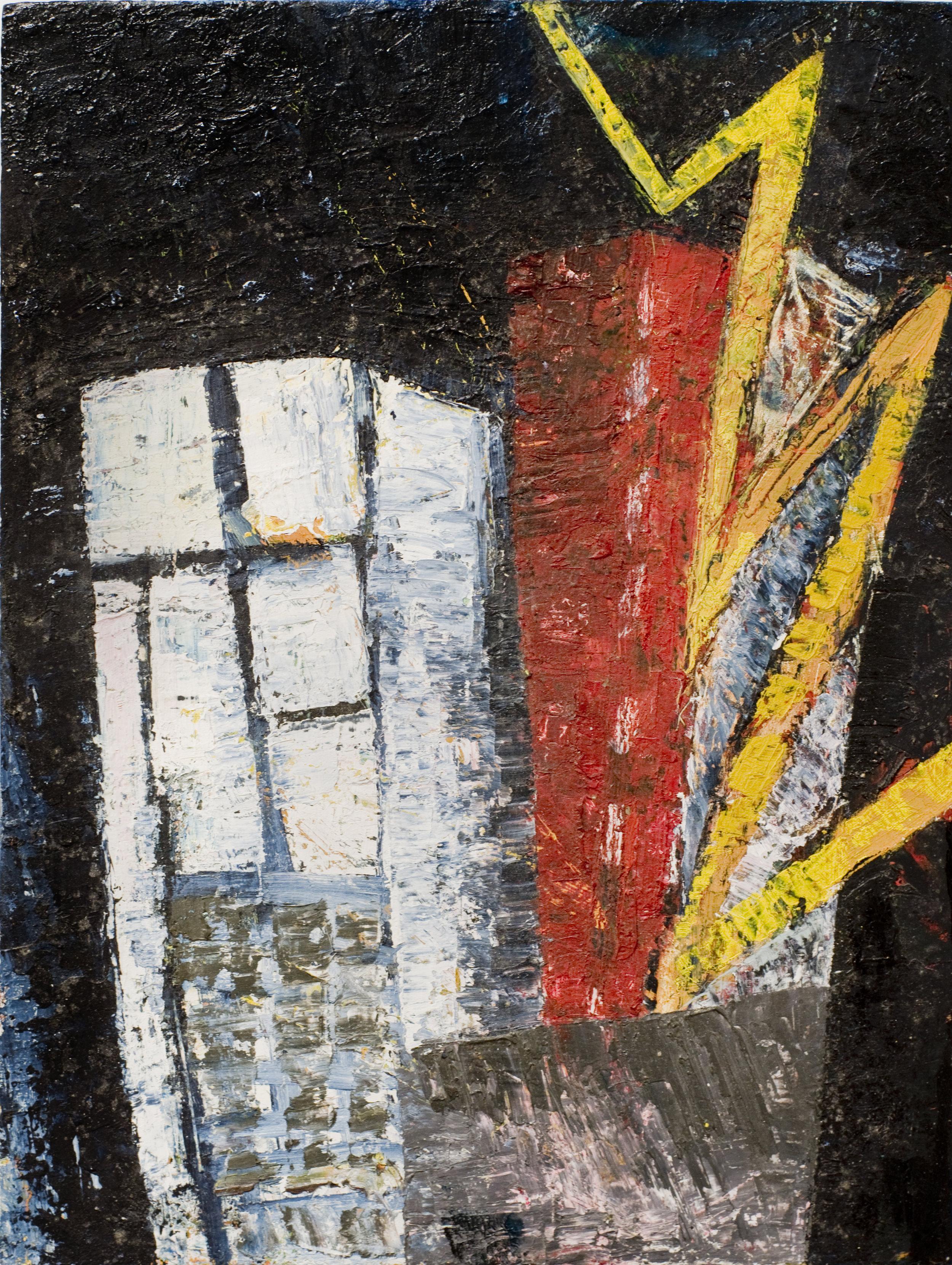 Jenny Snider,  Popcorn Town,  1990, oil on masonite, 12h x 9w in.