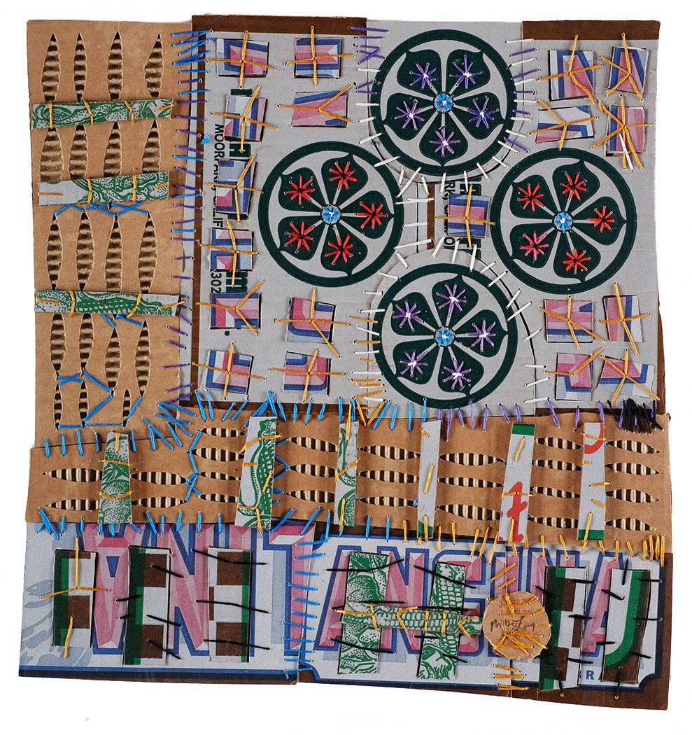 "Mark Delong,  The Left Hand of Utopia , 2016, cotton thread on cardboard, 18""h x 18""w"