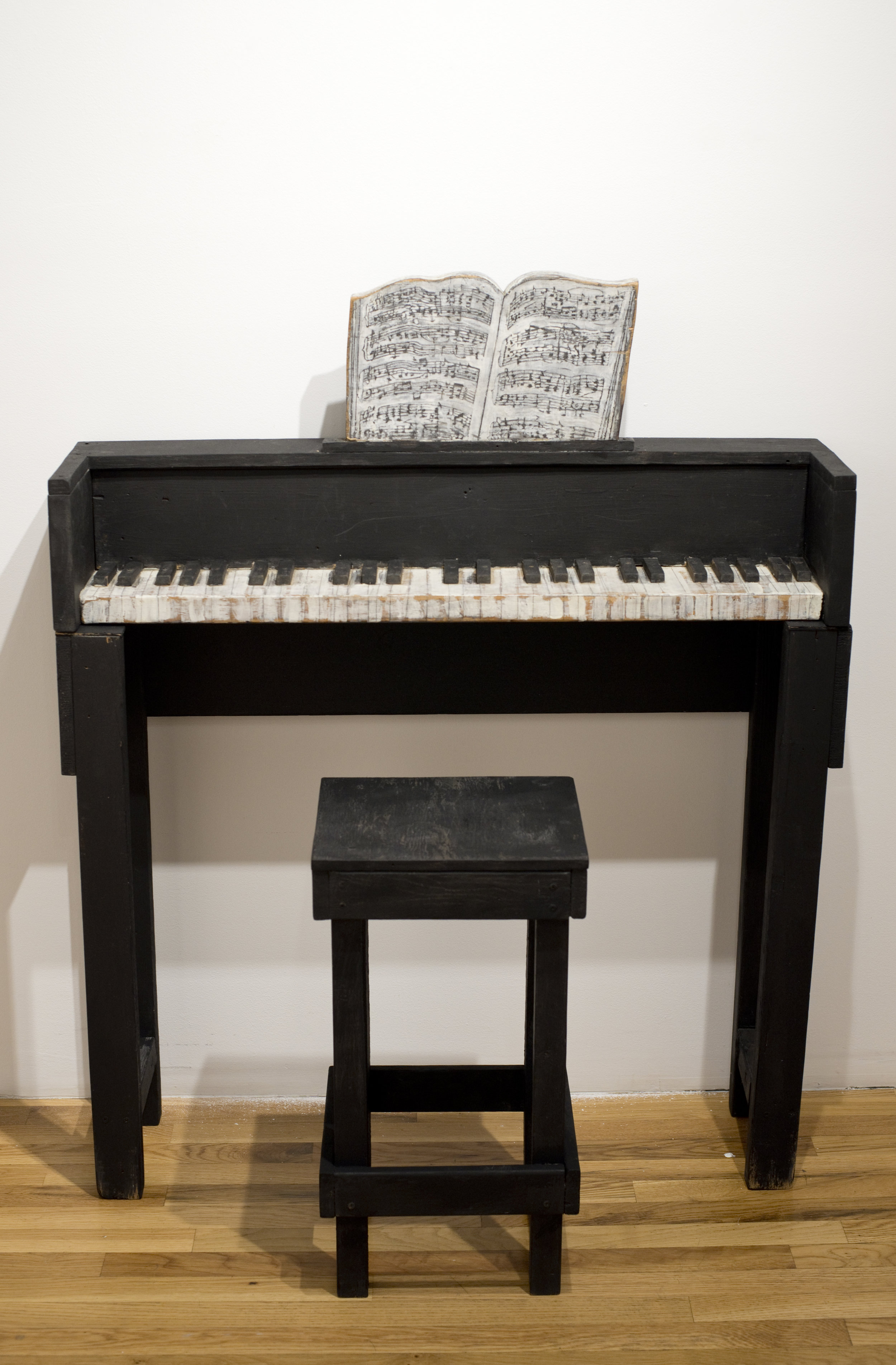 Jenny Snider,  SOLO: Ev'ry Time We Say Goodbye,  1999, Acrylic and pencil on wood, Piano: 48h x 39w x 10.5d in. Stool: 24h x 12.5w x 11d in.