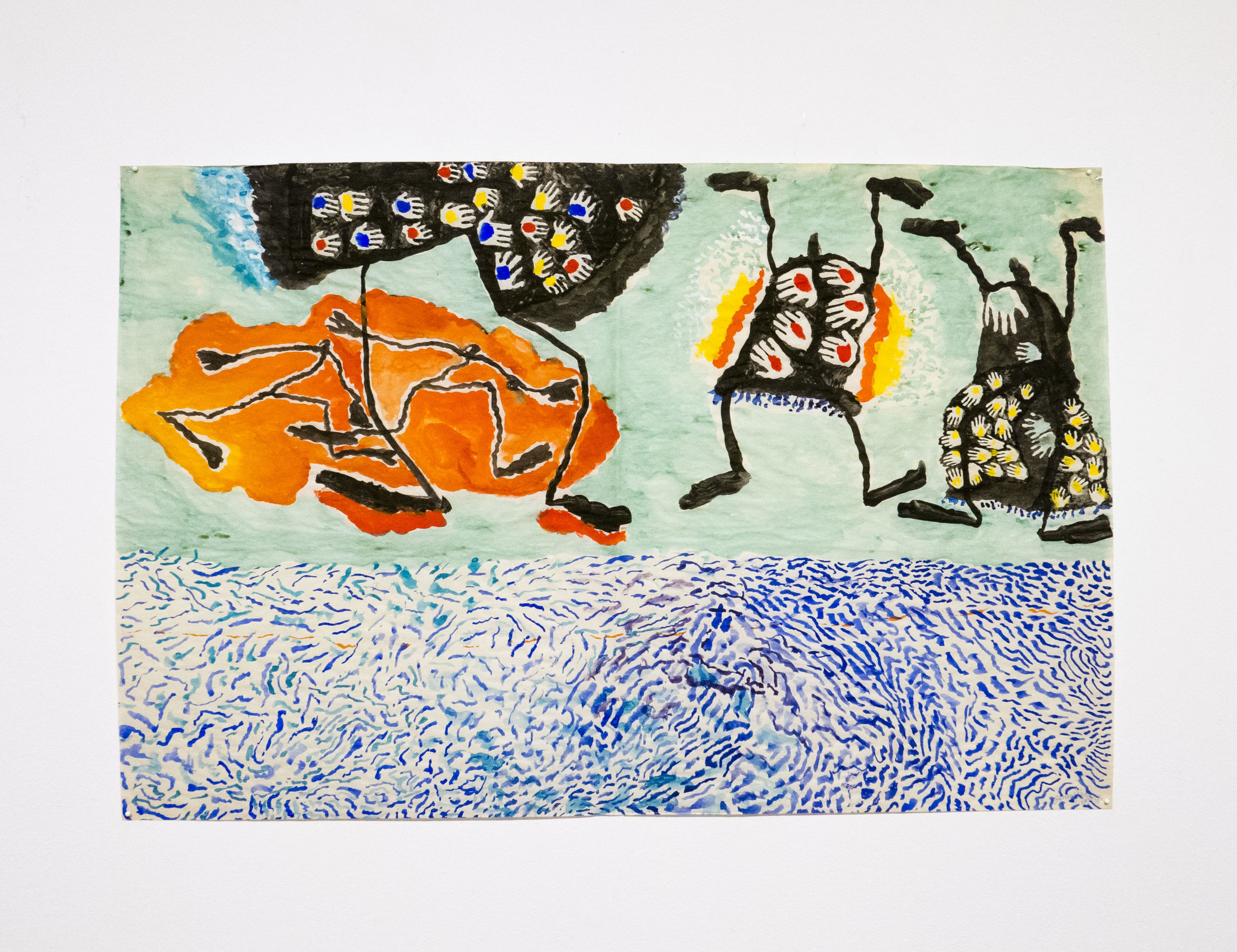 Jenny Snider,  Costumed Dancers (Seaside),  1973, gouache, watercolor, and ink on paper, 24h x 36w in.