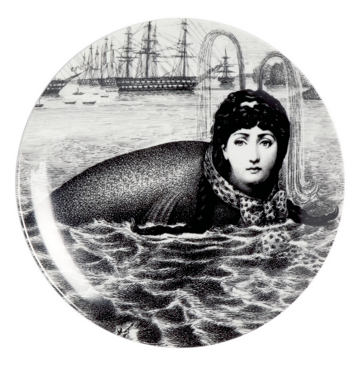 Piero Fornasetti,  Plate #195,  1970s, porcelain, 10w x 10h x 1d in.