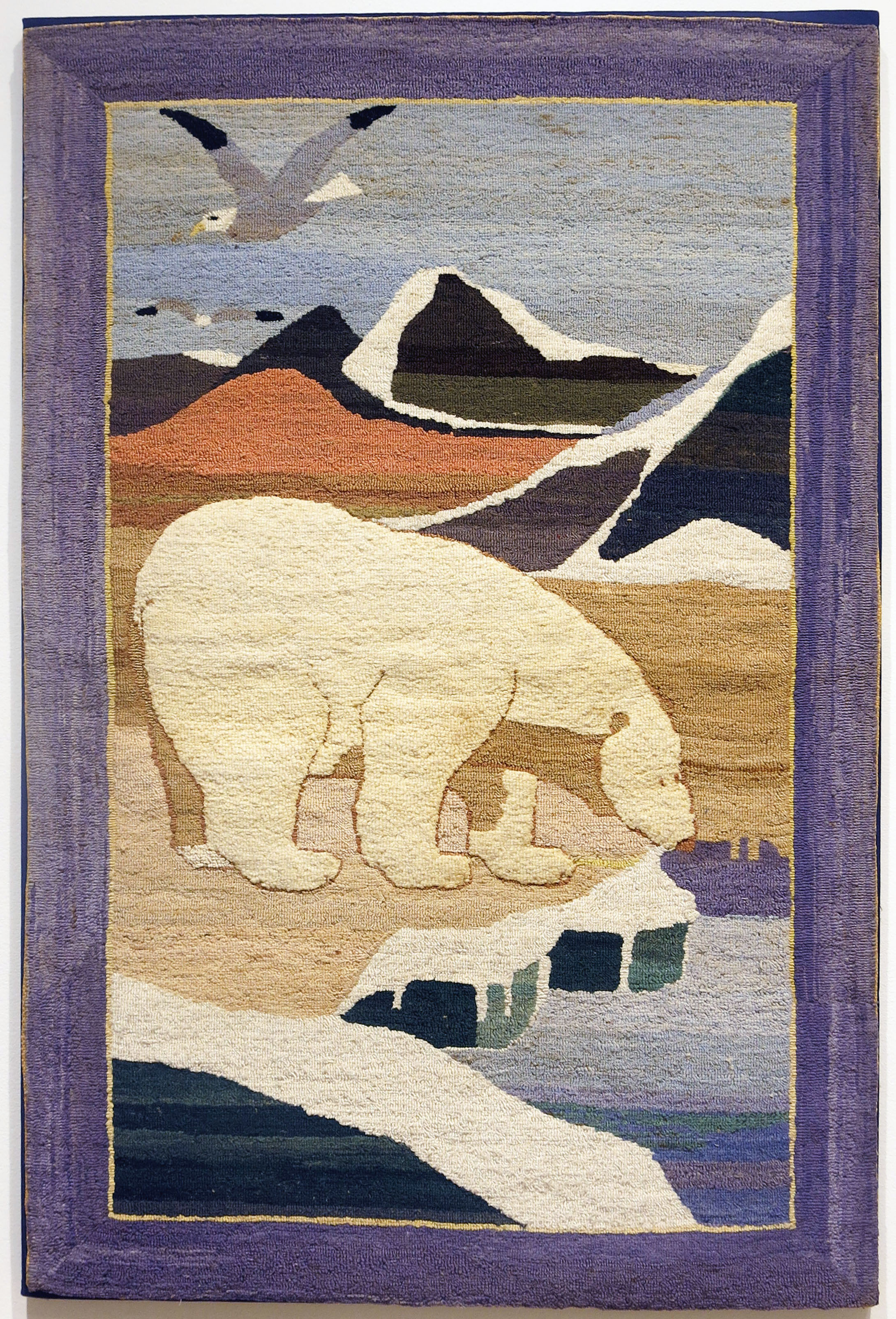 Anonymous, The Grenfell Mission,  Vertical Polar Bear on Ice,  c. 1939, silk, rayon, cotton, and velvet; dyed, 41h x 26.5w in.