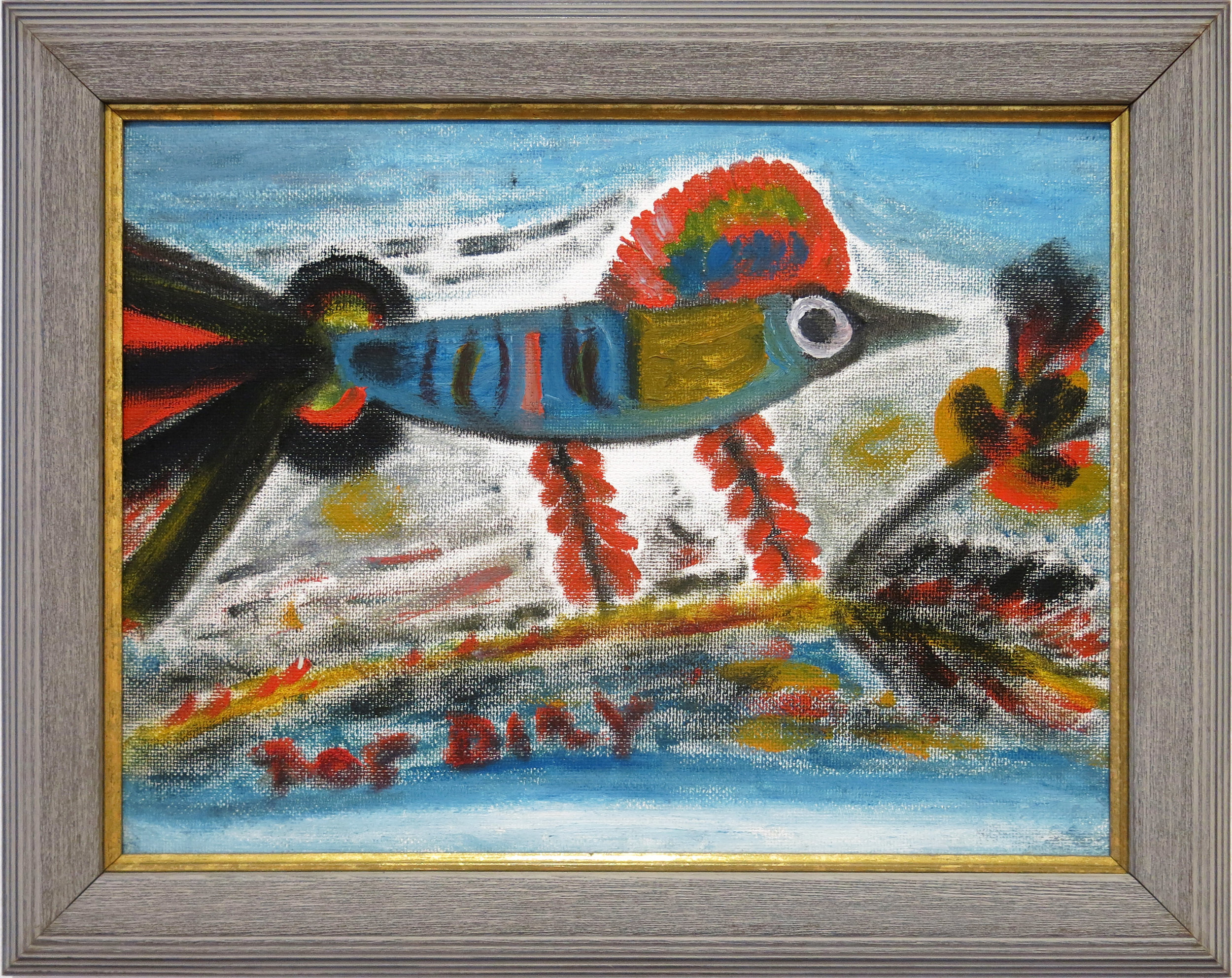 Raz Dizzy,   On Some Island These Birds,  1991, tempera on hardboard, 13 1/2h x 17 1/4w in.