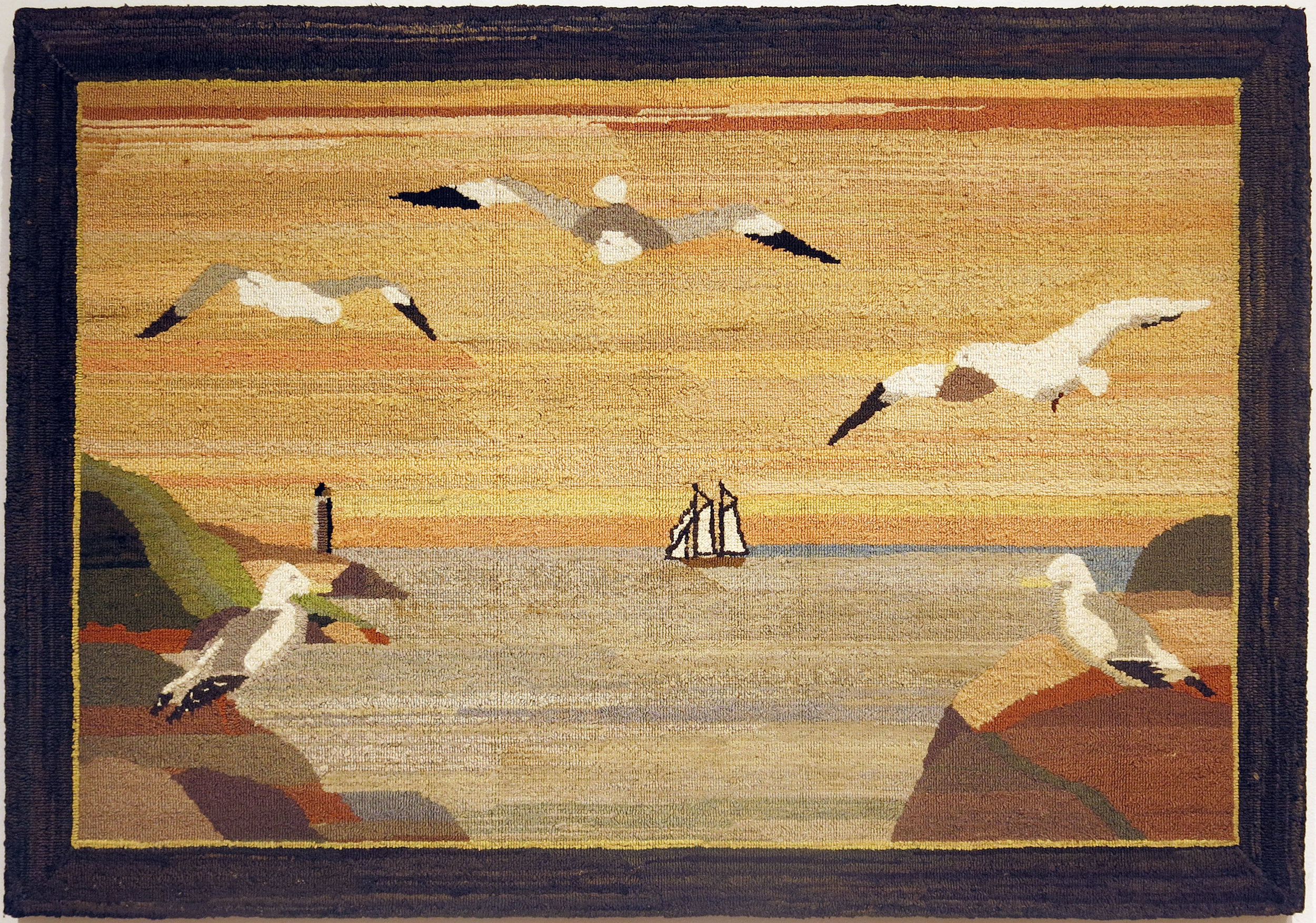 Anonymous, The Grenfell Mission,  Panoramic View of Harbor with Boat and Gulls,  c. 1935, silk, rayon; dyed, 27h x 40w in.