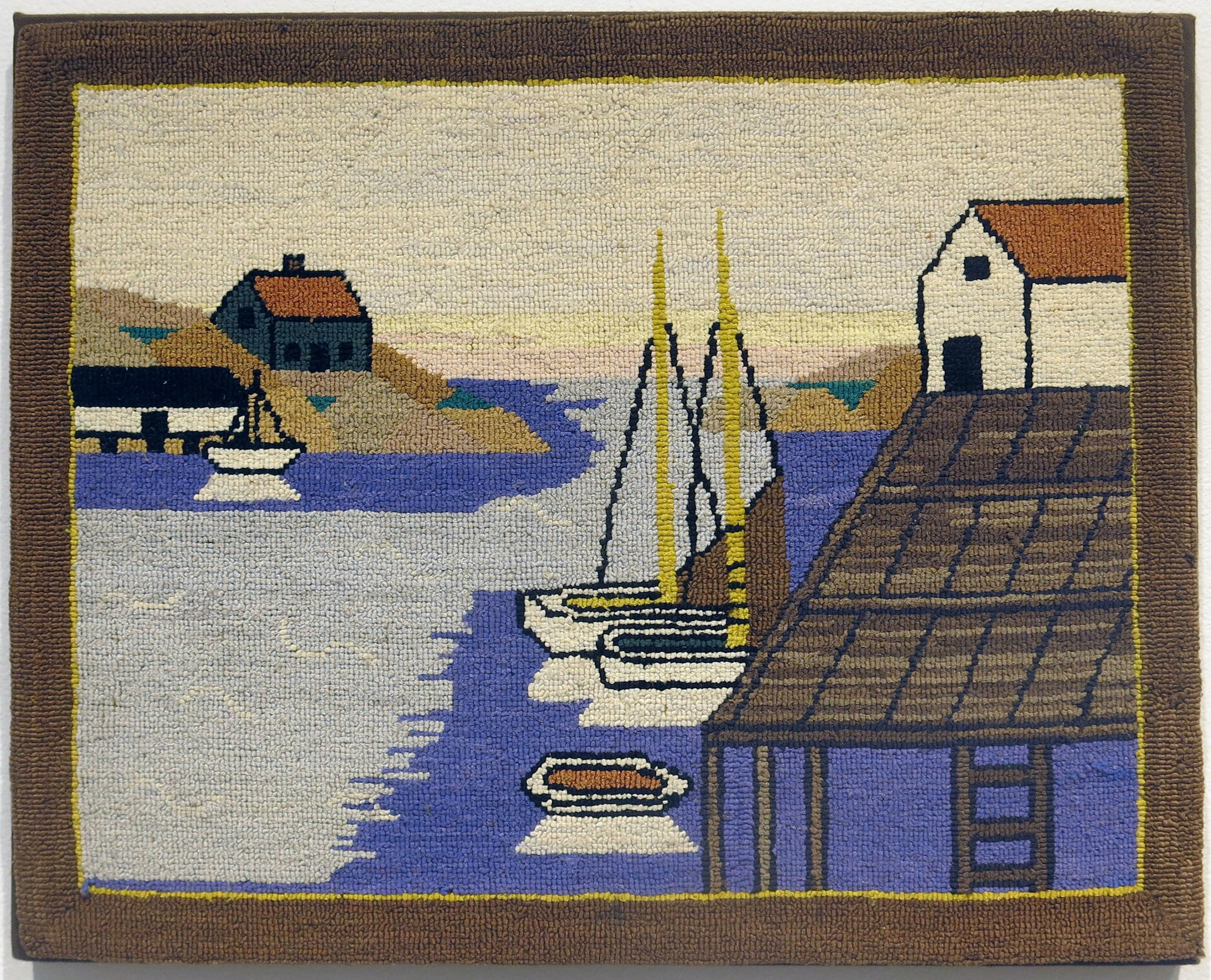 Anonymous, The Grenfell Mission,  Harbor Scene,   c.1950, silk, rayon; dyed, 15h x 18 1/2w in.