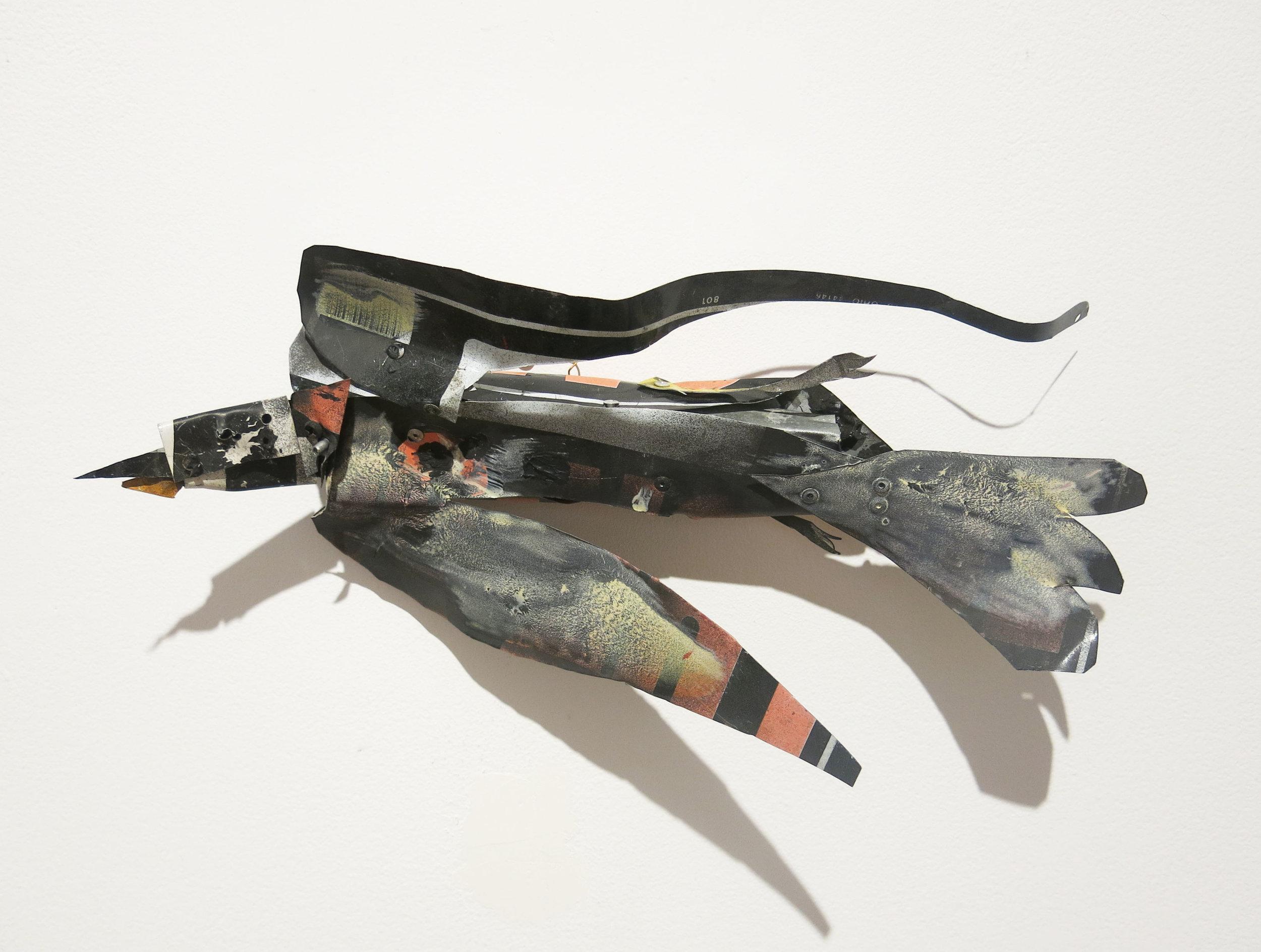 Matt Blackwell,  Bird,  2015, sheet metal, rivets, paint, 8h x 16w x 4d in.