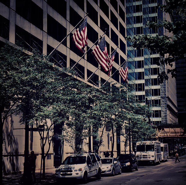 """A figure emerges, heading down the city sidewalk past a stone office building. Four American flags jut from its ledge over a row of giant revolving doors. My stomach makes a slow roll. I recognize him by the way he walks—it's my dad."""