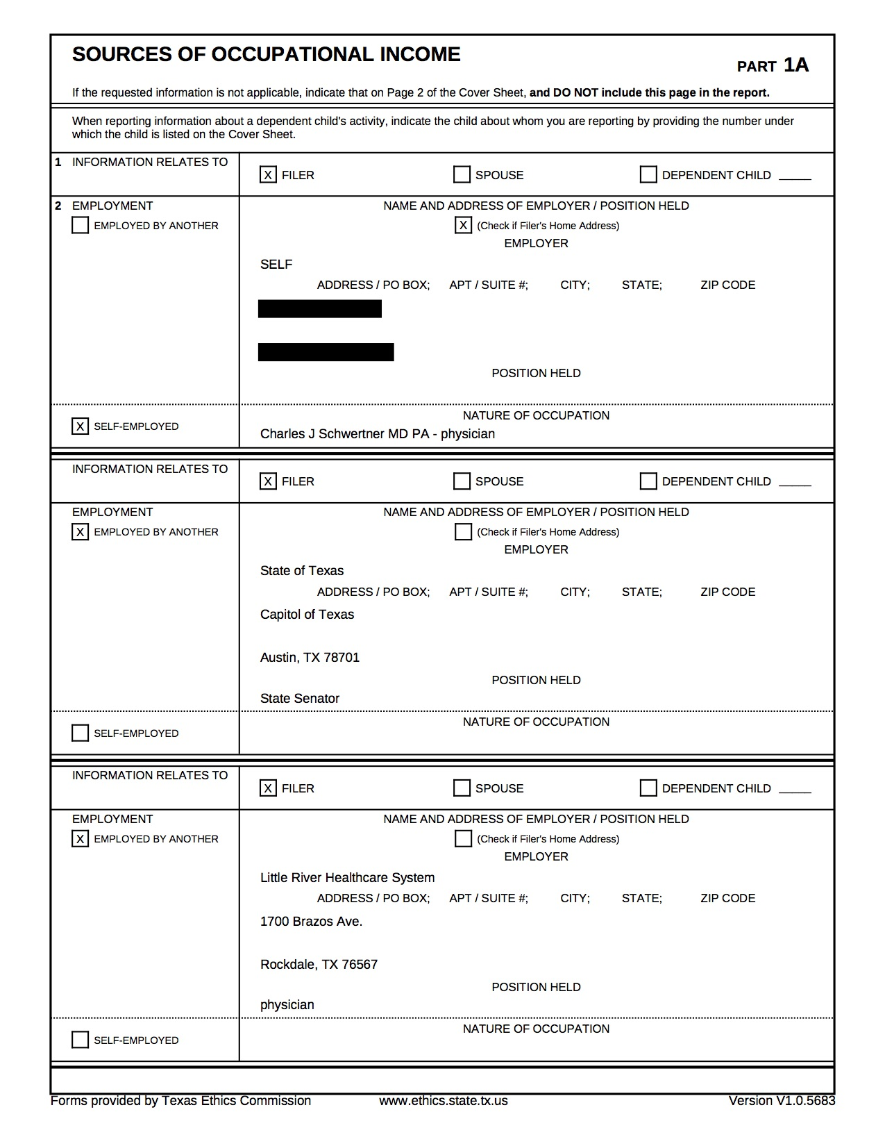 Sen. Charles Schwertner's 2018 personal financial statement filed with the Texas Ethics Commission shows he worked at Little River Heathcare System in Rockdale, Texas.