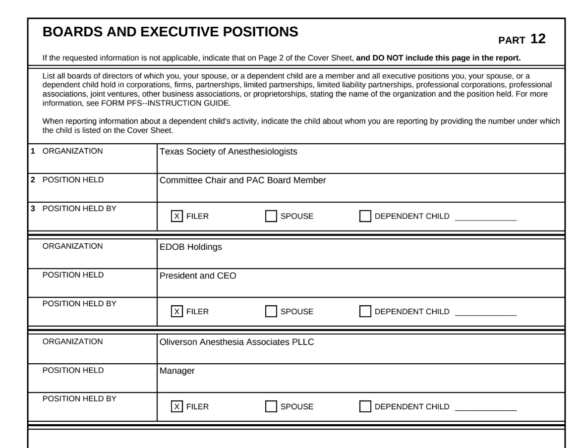 Rep. Tom Oliverson's 2018 personal financial statement filed with the Texas Ethics Commission shows he is a partner of U.S. Anesthesia Partners and Committee Chairman and PAC board member of the Texas Society of Anesthesiologists, one of the groups that publicly opposed SB 1264 in the Senate.