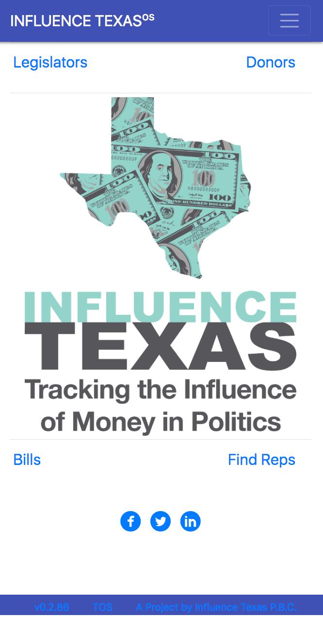 Visit the free web app:  app.influencetexas.com . No download needed.
