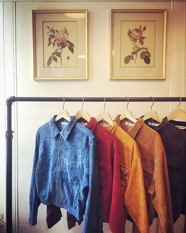 Our new fall cropped thick wale cord jackets. Made from #upcycled shirts. Lots of nice fall colors. 🎃