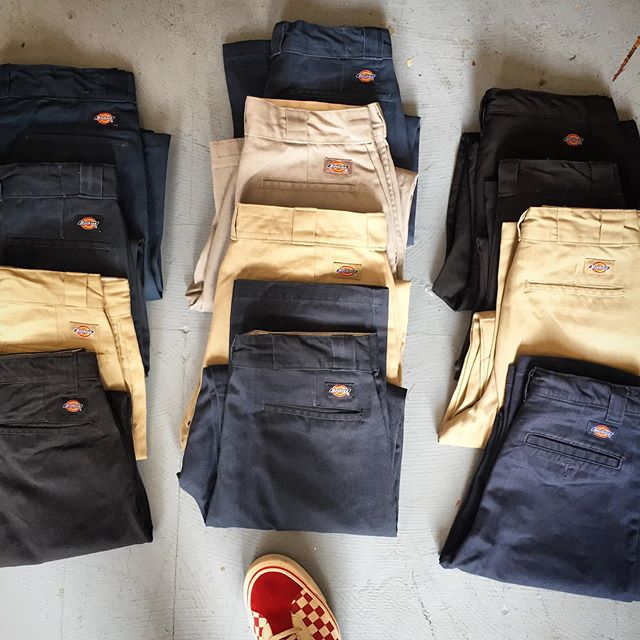 Back in #mintagemall our reworked #Dickies work pant. A little less baggy. A little more tailored. Also lots of new fall items.
