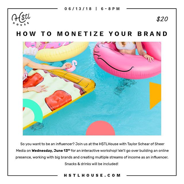 So you want to be an influencer? Join us at the #HSTLHouse with Taylor Schear (@taystytravels_) of Sheer Media on Wednesday, June 13th for an interactive workshop! We'll go over building an online presence, working with big brands and creating multiple streams of income as an influencer. Snacks & drinks will be included! 🤓 Tickets on our website!