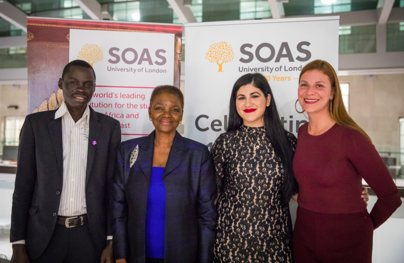 SOAS Director Baroness Valerie Amos (center left) with AFSOAS President Brooke Beardslee (right) and a few scholarship students, including Donya Nasser - the 2017 John Loiello AFSOAS FISHL Scholarship recipient (center right).