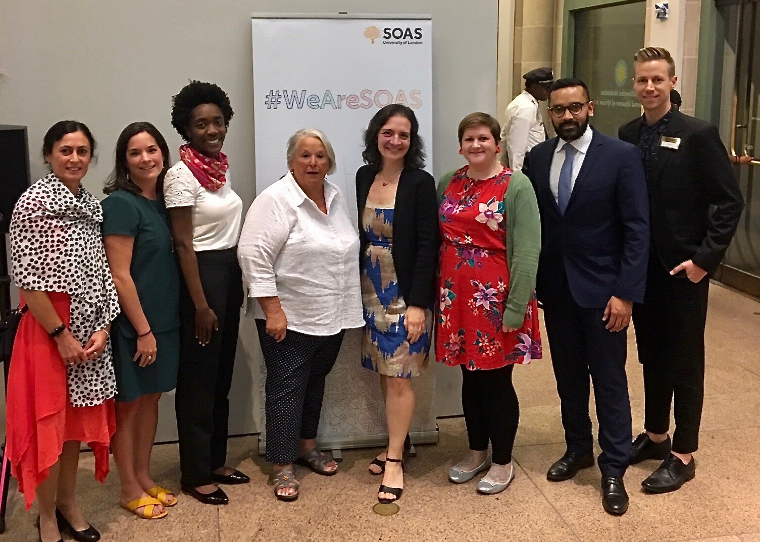 AFSOAS Board members Whitney Purdum, Jessica Adomako, Elaine Loiello, Kate Barron-Alicante and Greg Buie with Angelica Baschiera - Manager, Center of African Studies (left), Sarah Goodyear (3rd from right) and Nizam Uddin - SOAS Trustee (2nd from right)