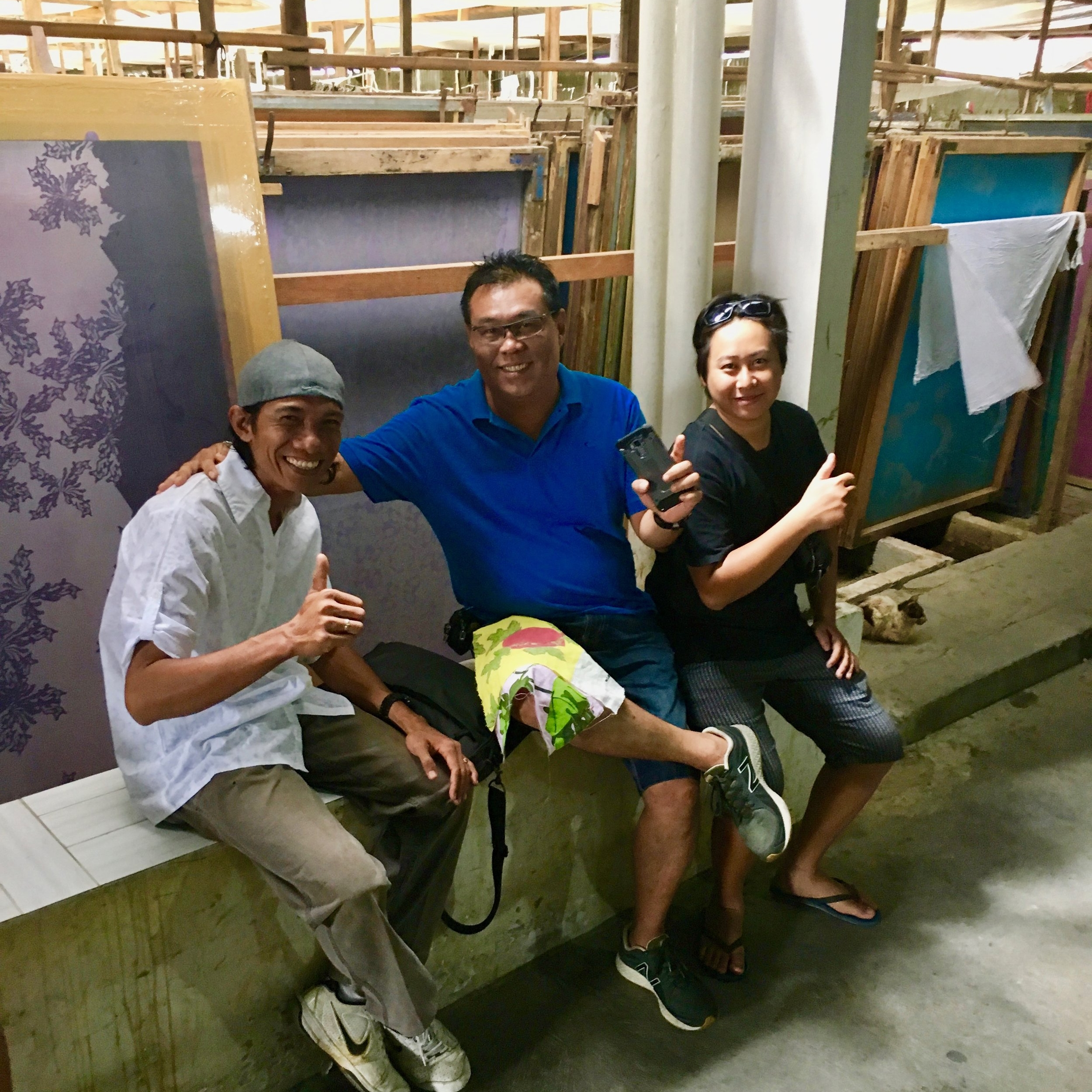 Many long days spent at the factory with my textile guru Agung (left). Pictured here with factory management.