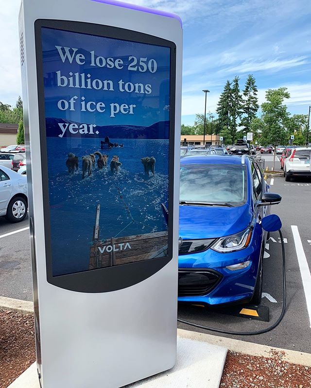 Some Oregon shopping centers offer free electric vehicle charging, like this Volta charger in Tualatin.  #volta #chargeupandgo #electricvehicles #EV #GoElectricOR #Oregon
