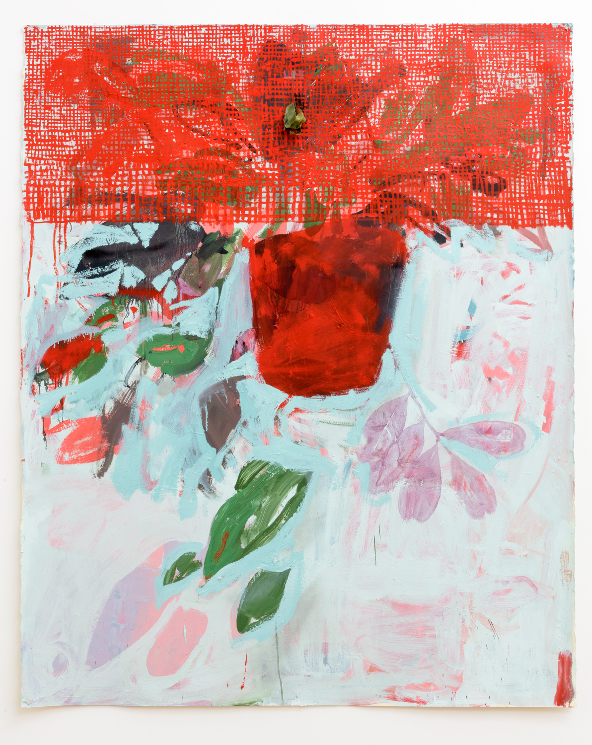 Frank J. Stockton  Untitled,  2016 Oil on paper with leaf, 52.5 x 65 x 2.5in.