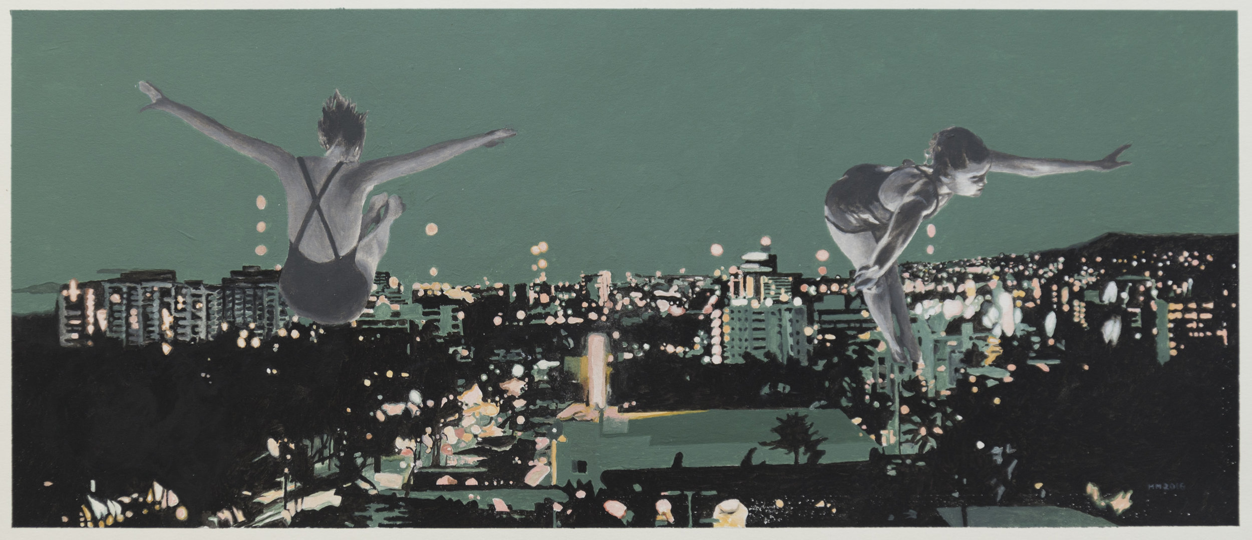 """Martin Mull  Angels, 2016 Oil and Acrylic on Paper, 20"""" x 8.5"""""""