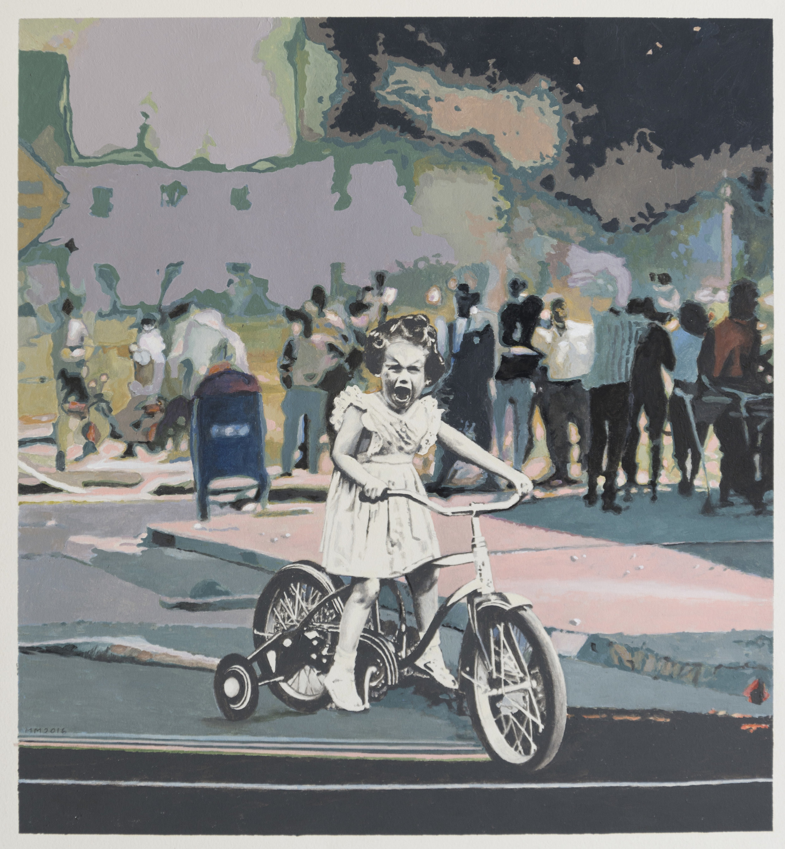 """Martin Mull  Trike, 2016 Oil and Acrylic on Paper, 15.5"""" x 16.75"""""""