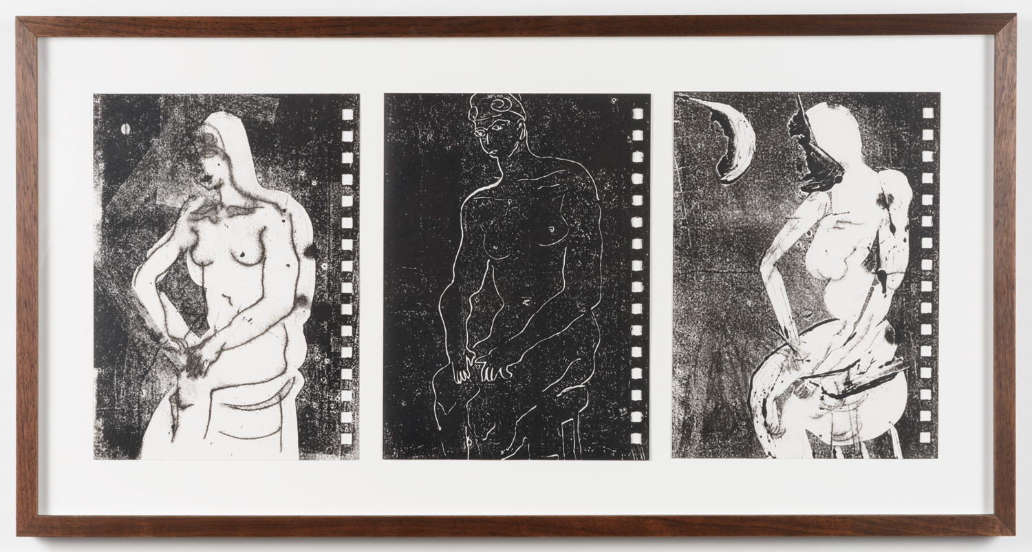 """Frank J. Stockton  Untitled, Swimmer Series,  2017 Monotype with intaglio ink, 3 pieces, each 6.25"""" x 8.5"""""""