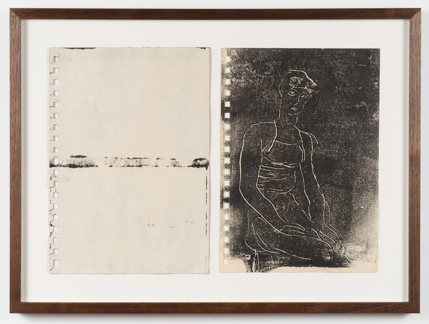 Frank J. Stockton  Untitled, Swimmer Series,  2017 Monotype with coffee treated paper, 7 x 10in. each