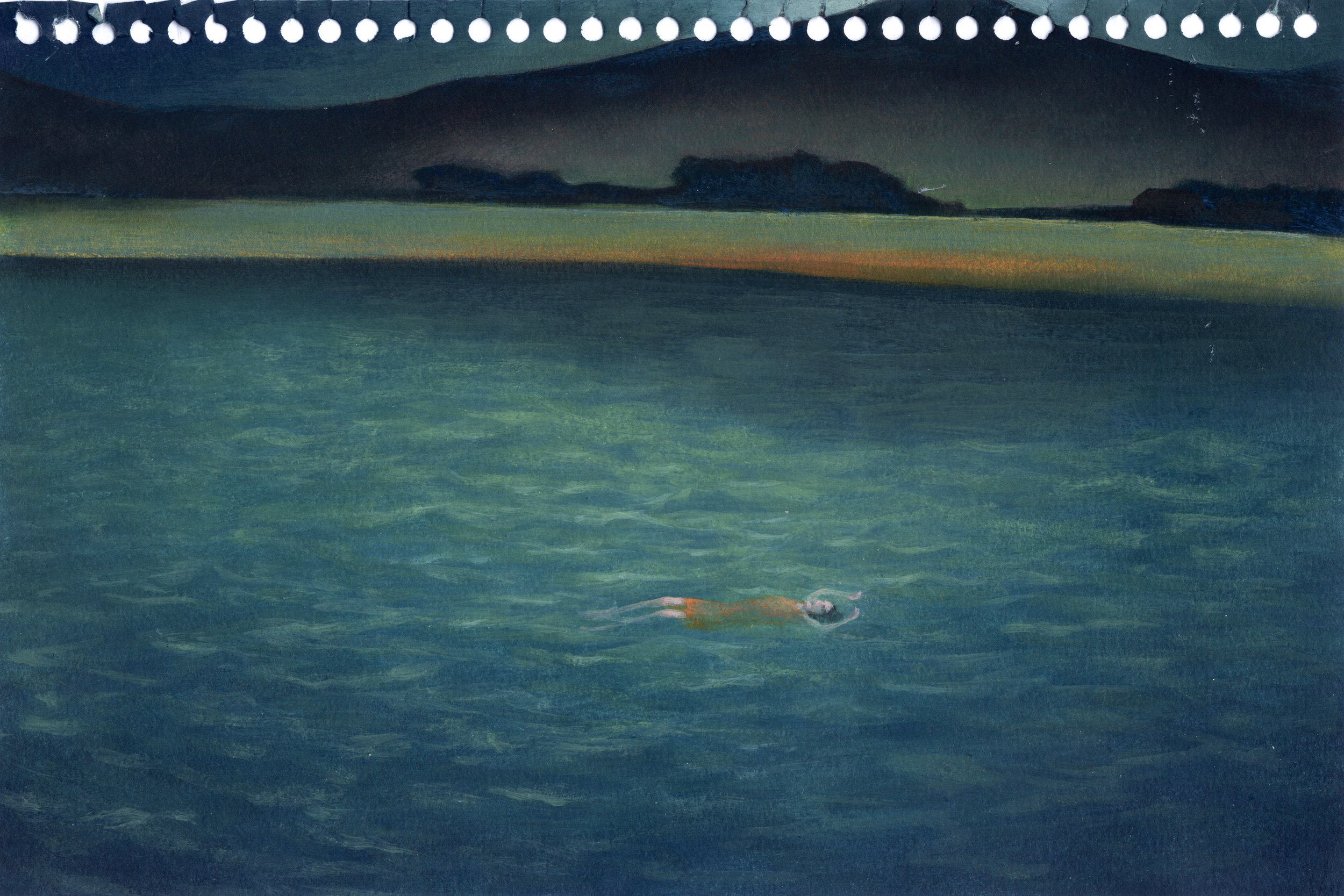 Blue McRight   Untitled (Night Dive)  (2011) Oil on paper, 9 x 6in.