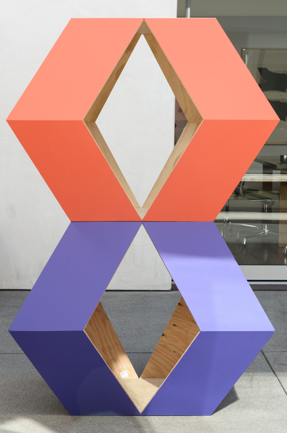 Justin Cole   Jack Ward Sculpture (An Echo)  (2017) Painted plywood, 41 x 64 x 41in.