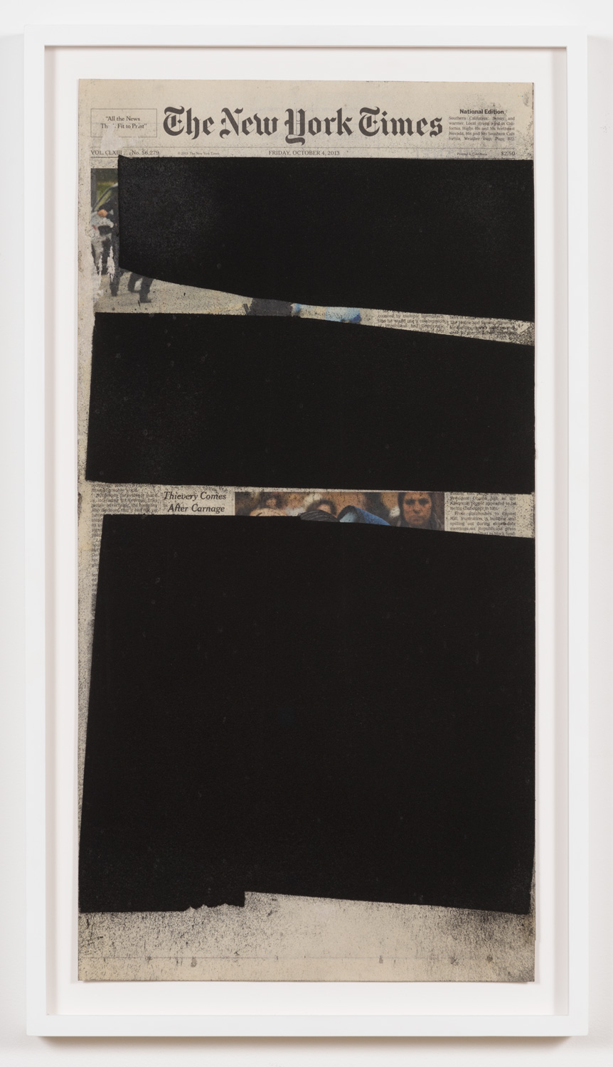 York Chang   Theft After Carnage  (2016) Powdered charcoal on newsprint mounted on archive paper, 11.5 x 23in.