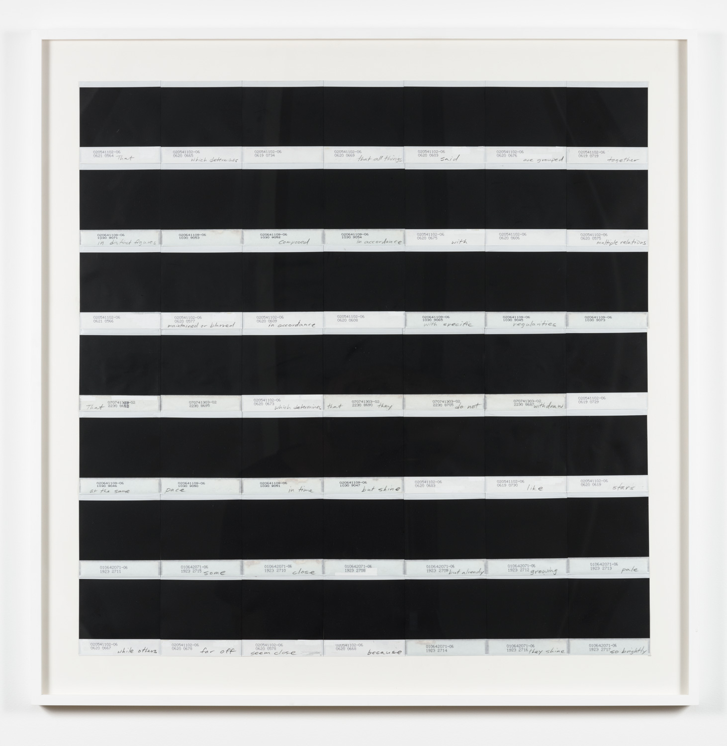 York Chang   Of Distant Stars I (Foucault's Poem)  (2015) 98 pieces of reversed polaroid 600 film, circa 1987, on museum rag paper, 33 x 32.5in.