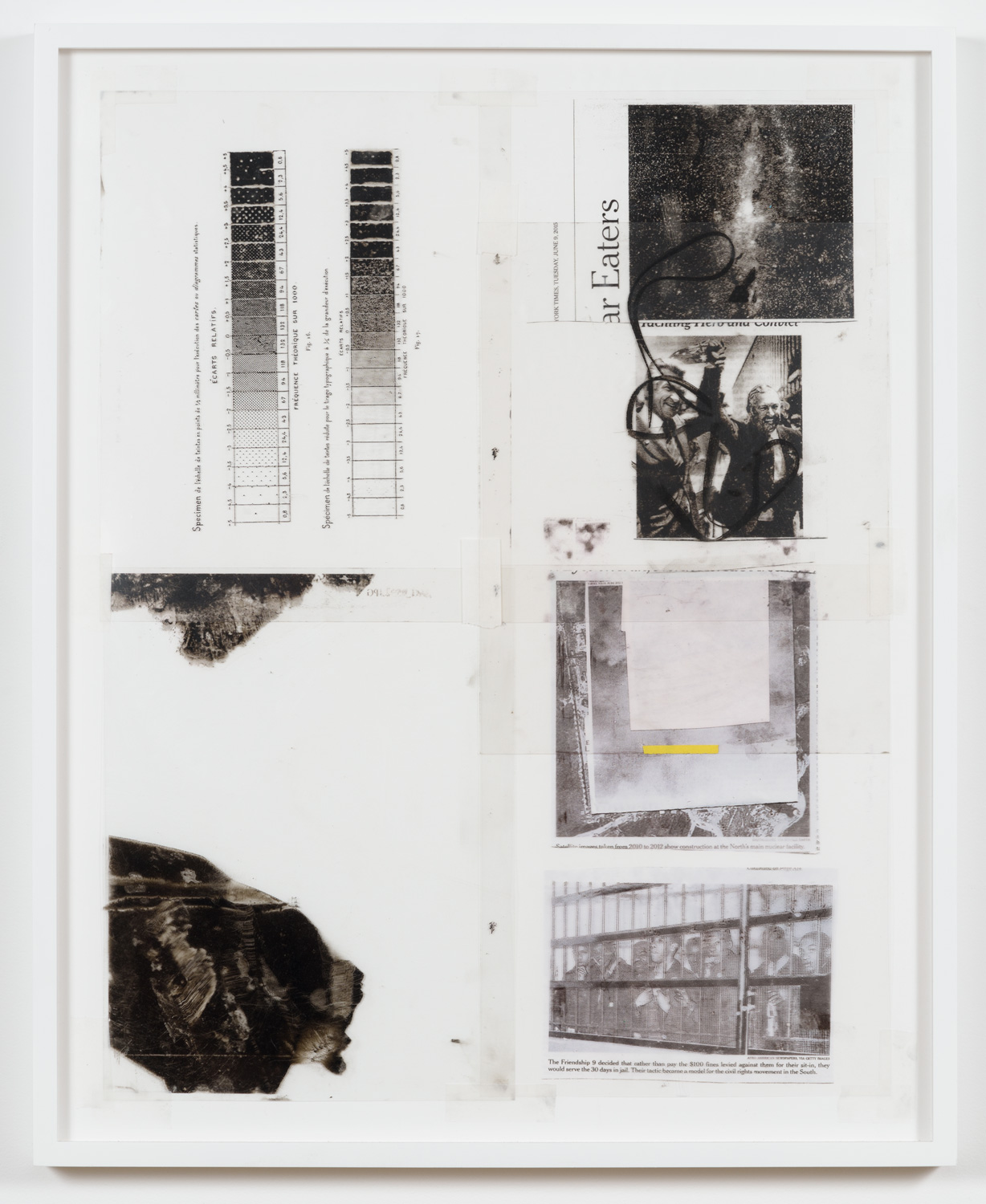 York Chang   Study for The Eaters  (2015) Inkjet on transparent film, framer's tape on museum rag paper, 18 x 22in.